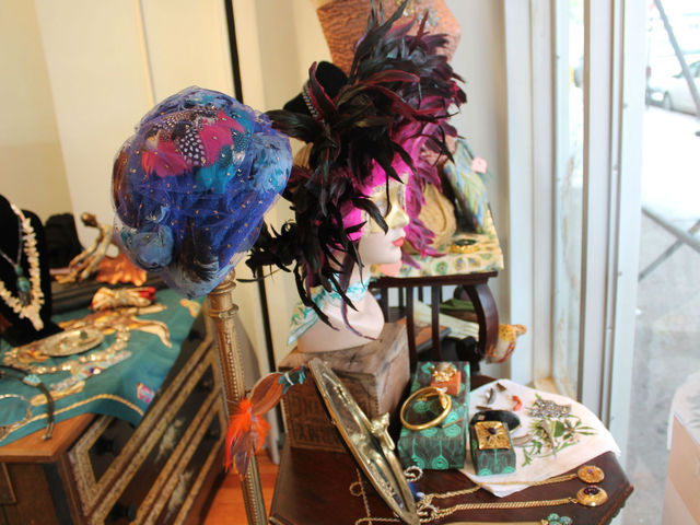 Hats in the front window at Pippin on Columbus Avenue.