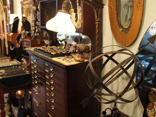 Pippin uses objects from its vintage storeroom to decorate the store.