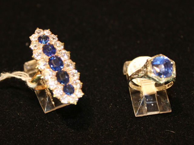 <p>Two of the more expensive rings at Pippin, with sapphires and diamonds.</p>