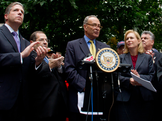<p>Senator Charles&nbsp;Schumer&nbsp;(center) Senator Kristen Gillibrand (right) announce their bipartisan support for the&nbsp;Zadroga&nbsp;Act Oct. 15, 2012. The funds from the legislation potentially face cuts due to a congressional budget sequester, announced in the summer of 2011.</p>