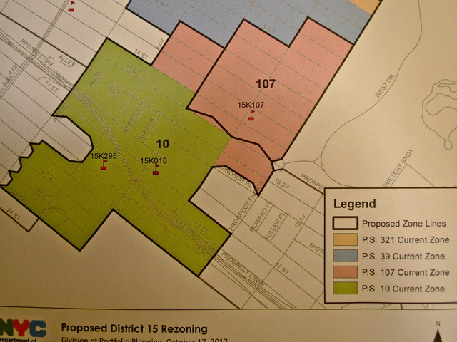 <p>The proposed zoning maps for P.S. 107 and P.S. 10. Thick black lines are the proposed zones. Colored areas are the existing zones.</p>
