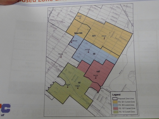 <p>The proposed new zones for Park Slope schools. Thick black lines are the proposed zones. Colored areas are the existing zones.</p>