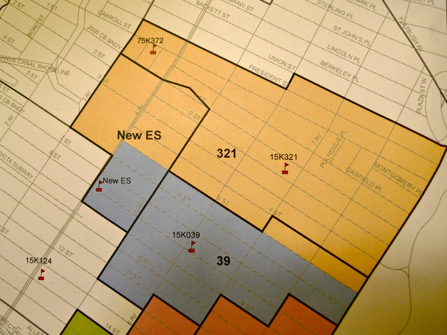 <p>The proposed zoning maps for P.S. 321 and P.S. 39. Thick black lines are the proposed zones. Colored areas are the existing zones.</p>