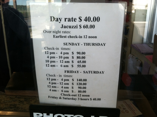 <p>Day rates for the Holiday Motel, where two were found shot on October 13, 2012.</p>