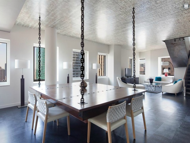 <p>A dining area in the five-bedroom penthouse duplex in CASSA NY CONDOMINIUMS, at 70 West 45th St., listed by Prudential Douglas Elliman for $35,000 a month.</p>