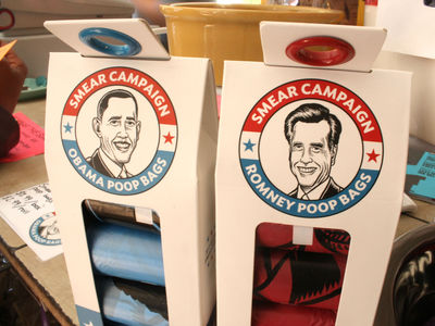 October 12, 2012 - Who's Your Doggy in Fort Greene is selling dog bags featuring the faces of Obama or Romney.