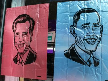 Who's Your Doggy in Fort Greene is selling dog bags featuring the faces of Obama or Romney.