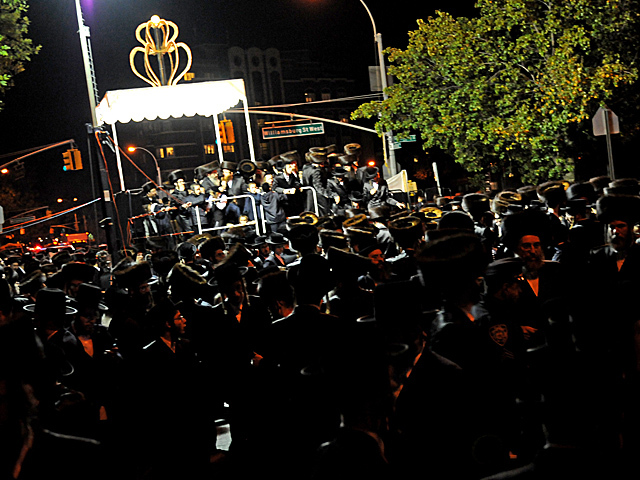 <p>After the wedding thousands of Hasidic Jews head down to the Brooklyn Navy Yard for the wedding reception, Oct. 17, 2012.</p>