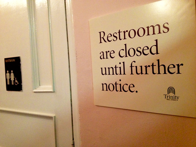 <p>Trinity Church has closed the bathrooms to St. Paul&#39;s Chapel as a preemptive measure to prevent vandalism from Occupy Wall Street protesters camped outside Trinity.&nbsp;</p> <div> 	&nbsp;</div>
