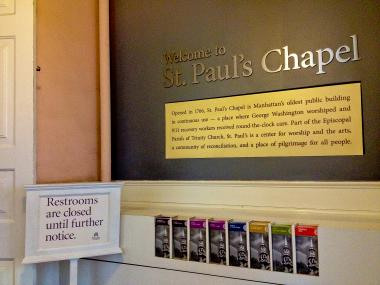 Trinity Church closes bathrooms in St. Paul's chapel due to vandalism from nearby Occupy Wall Street encampment.