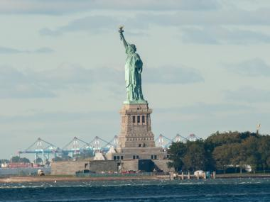 Security for the Statue of Liberty will be moved from Battery Park to Ellis Island when Lady Liberty reopens on July 4, 2013.