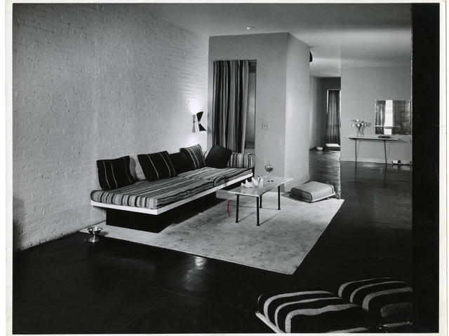 <p>Living room of the Tillett home and workshop, 170 East 80<sup>th</sup> Street, New York City, 1951</p>