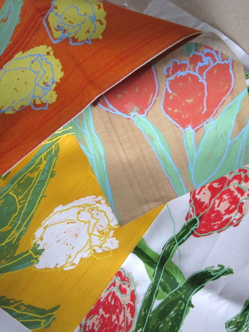 <p>Custom fabrics with tulip pattern and stri&eacute; designed by D.D. and Leslie Tillett.</p>