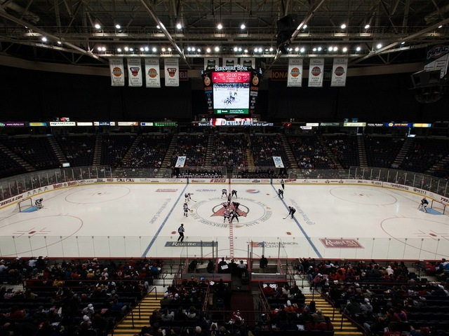 <p>The Albany Devils play in the Times Union Center.</p>