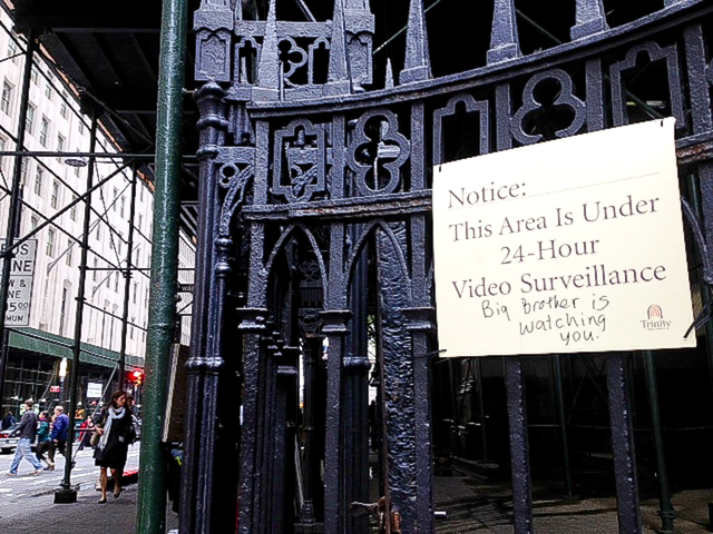 <p>Trinity Church has sited vandalism on its signs, blaming members of the Occupy Wall Street encampment parked outside of the church for the graffiti.</p>