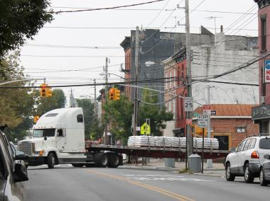 Illegal, oversize trucks are blocking cars and damaging streets as they travel to and from warehouses and factories along Brooklyn's waterfront, residents and officials say.