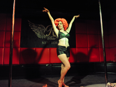 <p>Cherry Pitz of Hotsy Totsy Burlesque performs on the Lower East Side.</p>