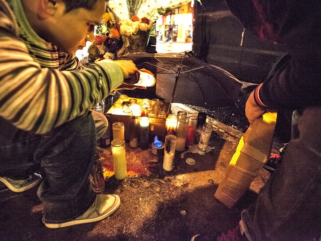 <p>Votive candles and heartfelt messages marked the memorial for Noel Polanco, who was shot and killed by police in Queens.</p>