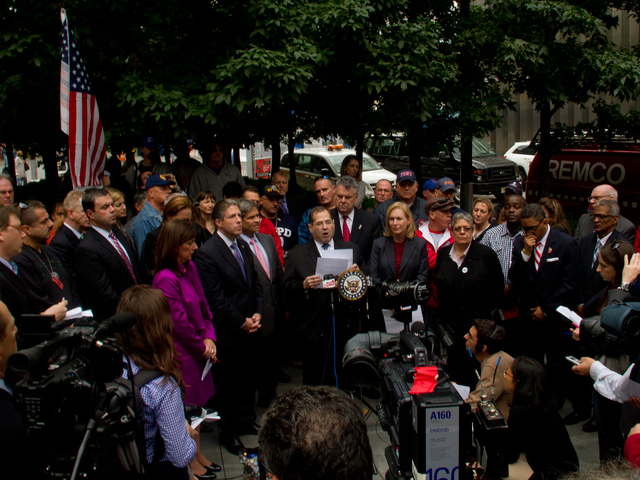 <p>Politicians from both parties gathered at World Trade Center 7 Oct. 15, 2012 to announce their support for the protection of Zadroga Act funds from a potential congressional budget sequester.&nbsp;</p>