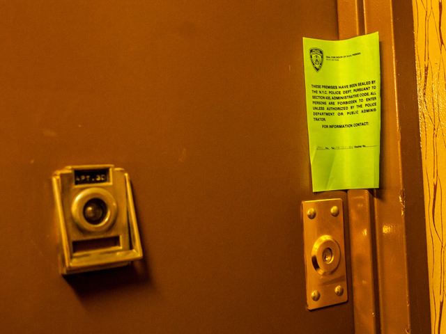 <p>A police notice seals the door to apartment 3D at 2156 Linden Boulevard, where 4-year-old Halii McCord was killed.</p>