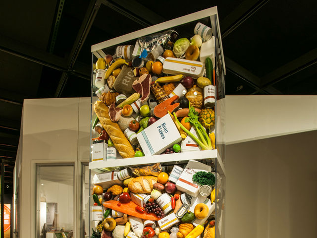 <p>About 414 pounds of food is discarded for each person in the United States each year at home, in stores and in restaurants. That&rsquo;s 1,656 pounds for a family of four, the amount in this sculpture.</p>