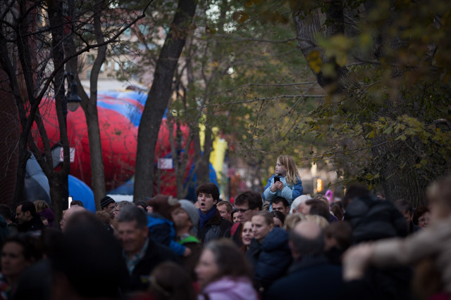 <p>Spectators watched the Macy&#39;s Thanksgiving Day Parade balloon inflation Nov. 21, 2012.</p>