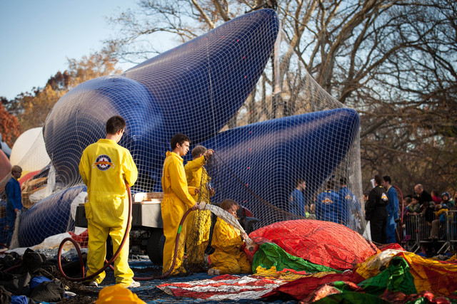 <p>Workers helped inflate enormous balloons before the Macy&#39;s Thanksgiving Day Parade Nov. 21, 2012.</p>