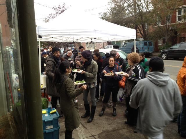 <p>Red Hook residents filled Van Brunt Street during a barbecue after Hurricane Sandy. A loose coalition of Restore Red Hook&#39;s board members started to form during the event, Homemade co-owner Monica Byrne said.</p>