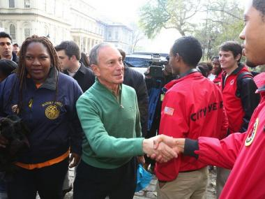 "Mayor Michael Bloomberg kicks off NYC Service ""Day of Service"" for Hurricane Sandy relief in Brooklyn, Queens and Staten Island on November 10, 2012."