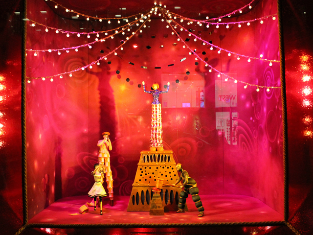 <p>The window displays are hand-painted and animated.</p>