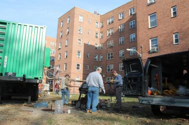 Contractors were setting up enormous, truck-mounted boilers and generators outside the Red Hook Houses Monday afternoon, Nov. 12, 2012.