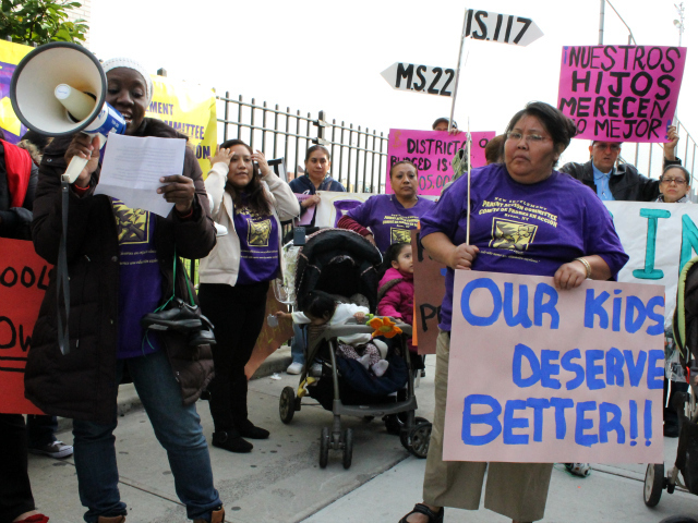 <p>Students and parents at a rally in October outside of the Taft Educational Campus, where Bronx High School for Medical Science is based. They called for improvements to District 9, of which the high school is a part.</p>