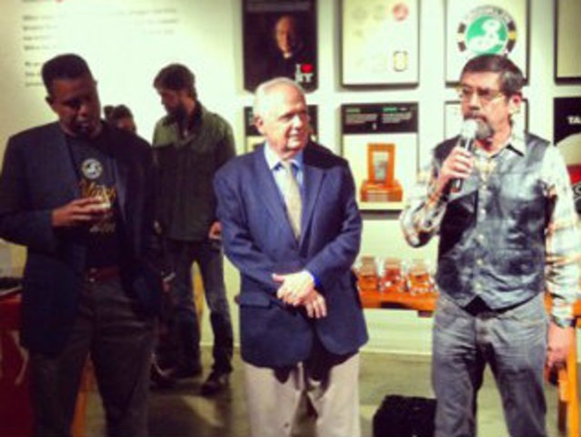 <p>Stephen Hindy spoke at Brooklyn Brewery&#39;s recent fundraising event for Sandy.</p>