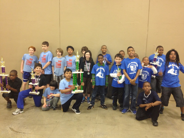 <p>Members of the chess teams for P.S. 39 and P.S. 282 pose with trophies at a national chess tournament in Nashville, Tenn.</p>