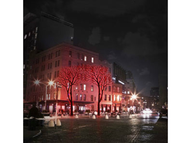 <p>Twenty-foot-tall neon trees promoting Belvedere Vodka will be illuminated on Meatpacking&nbsp;District buildings for three nights, according to the liquor company&#39;s website.</p>