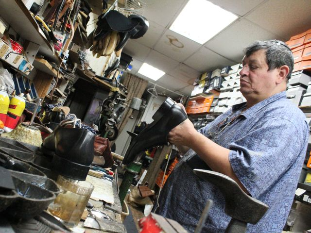 <p>Shalom Dekhkanov learned to repair shoes from his father in Russia. He works at Alex Shoe Repair in the East Village.</p>