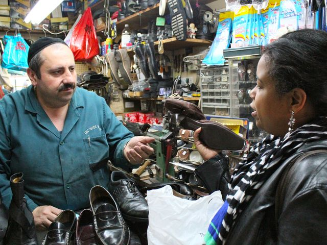 <p>Erik Koynoe said a sluggish economy is providing shoe cobblers with a lot of business as customers seek to repair shoes rather than buy new ones.</p>