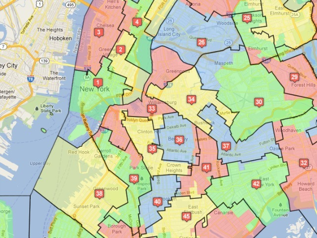 <p>The Districting Commission&#39;s plan for sections of Central Brooklyn. The colored blocks represent the old districts; the black lines show the proposed new bounds.</p>