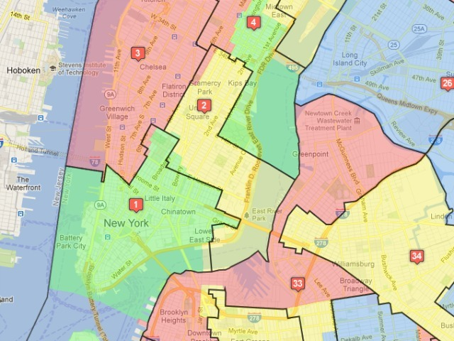 <p>Lower Manhattan&#39;s 1st and 2nd districts would remain largely unchanged. The colored blocks represent the old districts; the black lines show the proposed new bounds.</p>