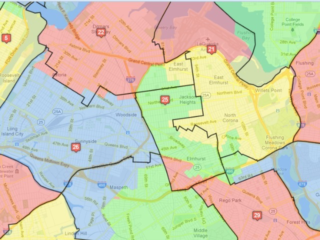 <p>The Commission had received many requests to keep Elmhurt and Jackson Heights in the same district, Hum said. The colored blocks represent the old districts; the black lines show the proposed new bounds.</p>