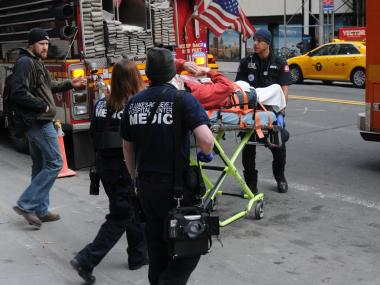 A 30-year-old construction worker fell from one roof to another Tuesday morning while working at the future New York office of a nonprofit founded by billionaire investor  George Soros , sources said.