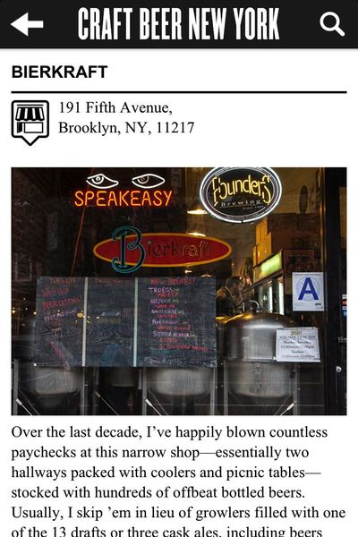 <p>Craft Beer New York includes more than 120 reviews of bars around the city.</p>