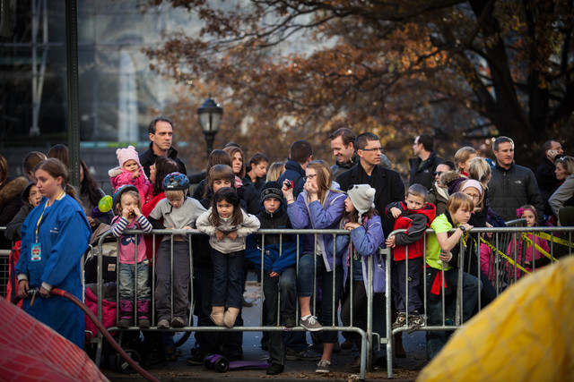 <p>Crowds gathered to watch the Macy&#39;s Thanksgiving Day Parade balloon inflation Nov. 21, 2012.</p>