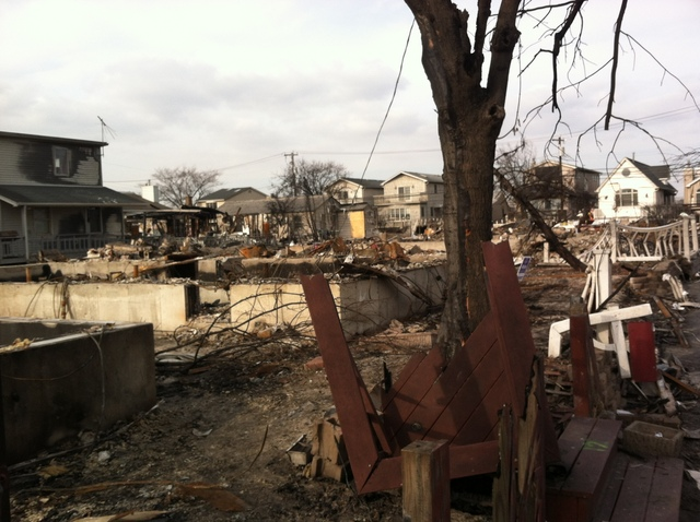 <p>A devastated area of Breezy Point where Hurricane Sandy tore homes off foundations, on Nov. 18, 2012.</p>