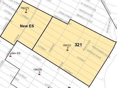 The rezoning proposal DOE presented on Nov. 13, 2012. Colored areas are the existing P.S. 321 zone. The dark lines are the new zones for P.S. 321 and a new school at the St. Thomas Aquinas building.