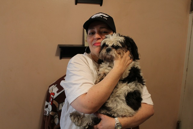 <p>Maria Vazquez after being reunited with her stolen dog, Skylar.</p>