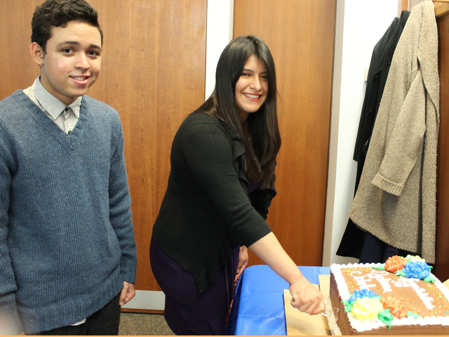 <p>Jean-Franco Diaz and Karina Montenegro were honored by community board 12 for being named Dyckman Institute Scholars.</p>