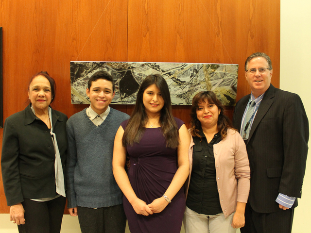 <p>Pilar and Jean Franco Diaz, Karina and Cecilia Montenegro pose for a photo with Ross Frommer, Deputy Vice President at Columbia University Medical Center.</p>