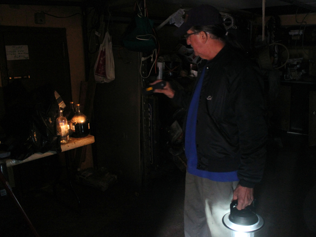 <p>Army veteran Eddie Acosta stands in the flood-damaged basement of VFW Post 5195 in Red Hook. Much of the post&#39;s cooking and food supplies were destroyed by the floods caused by Hurricane Sandy.</p>