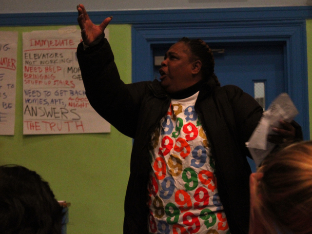 <p>Residents grew emotional as they vented their frustrations at a community meeting on recovering from Hurricane Sandy in Red Hook Wednesday night, Nov. 14, 2012.</p>